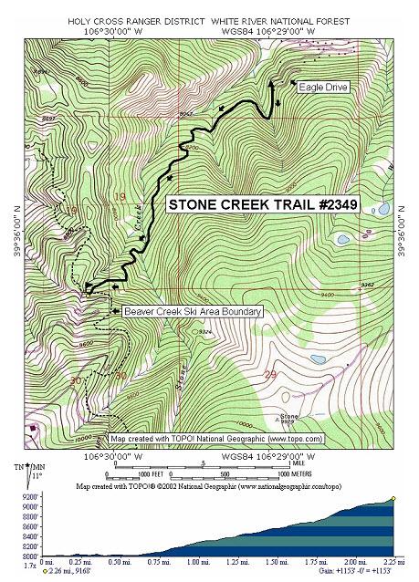 Stone Creek Trail - Beaver creek ski trail map