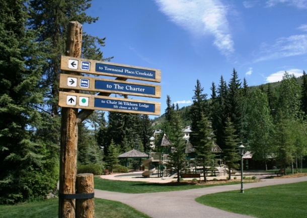 Skiway and pathway to the playground.